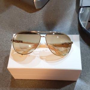 Jimmy Choo aviator sunglasses. Gold and ivory.